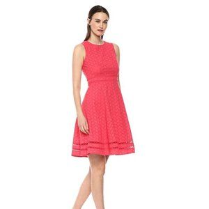 CALVIN KLEIN Embroidered Leaf Eyelet Cotton Dress